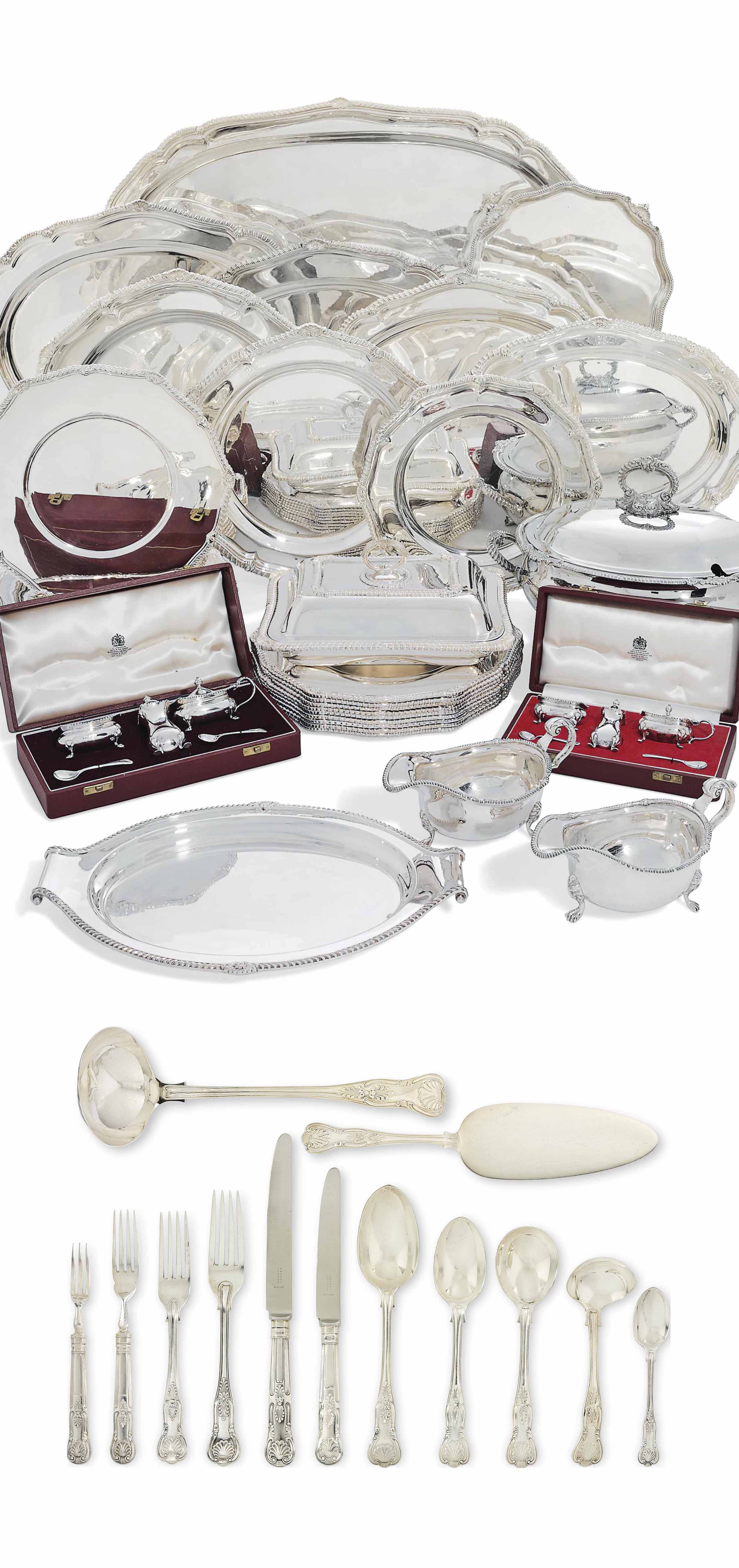 AN EXTENSIVE ELIZABETH II SILVER DINNER-SERVICE AND TABLE-SERVICE