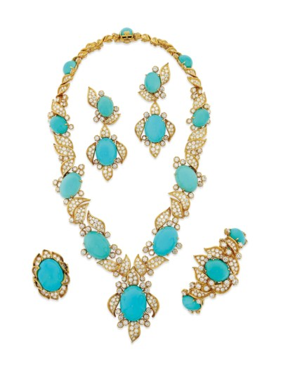 A TURQUOISE AND DIAMOND PARURE
