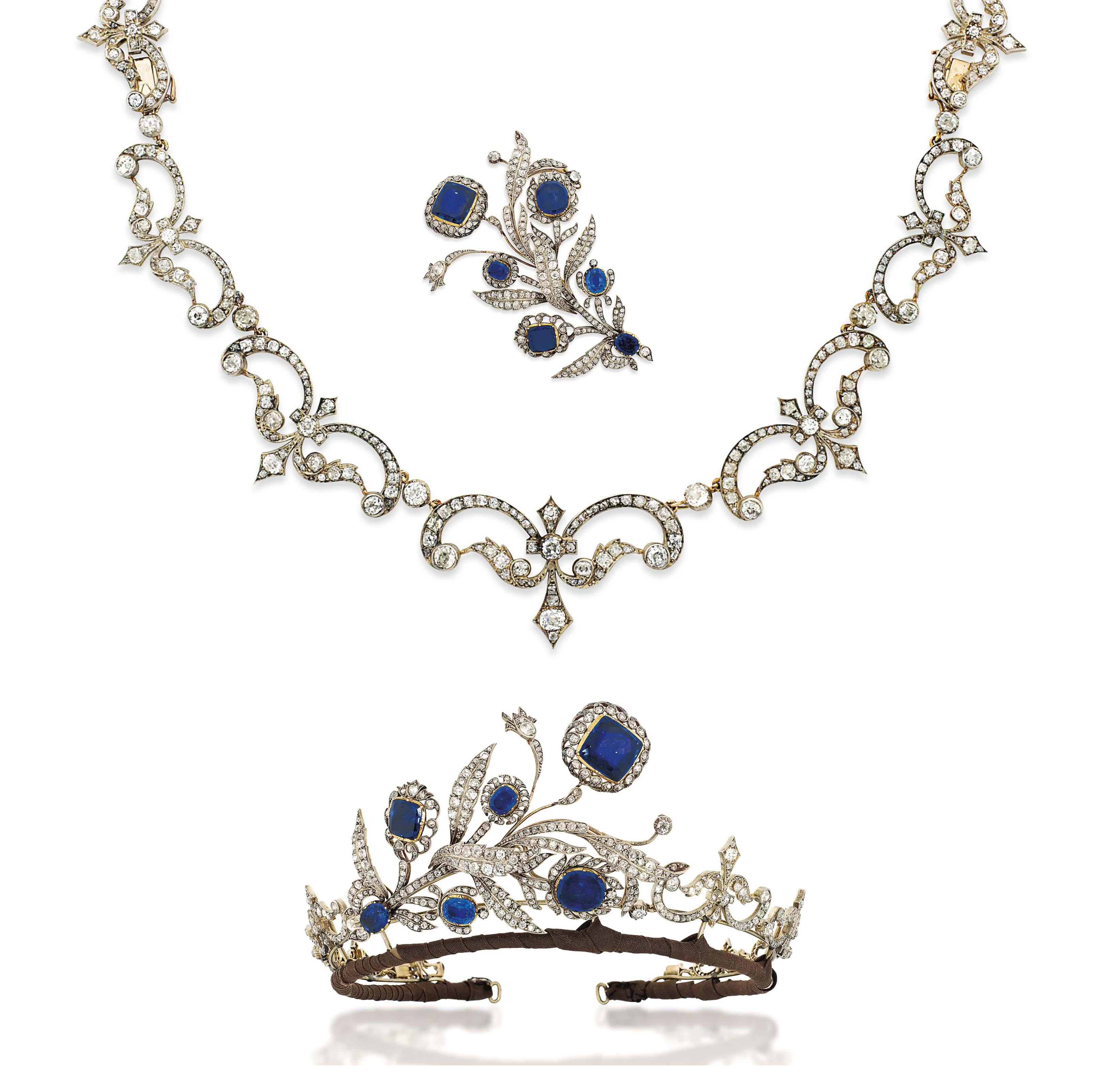 AN ANTIQUE SAPPHIRE AND DIAMOND TIARA / NECKLACE