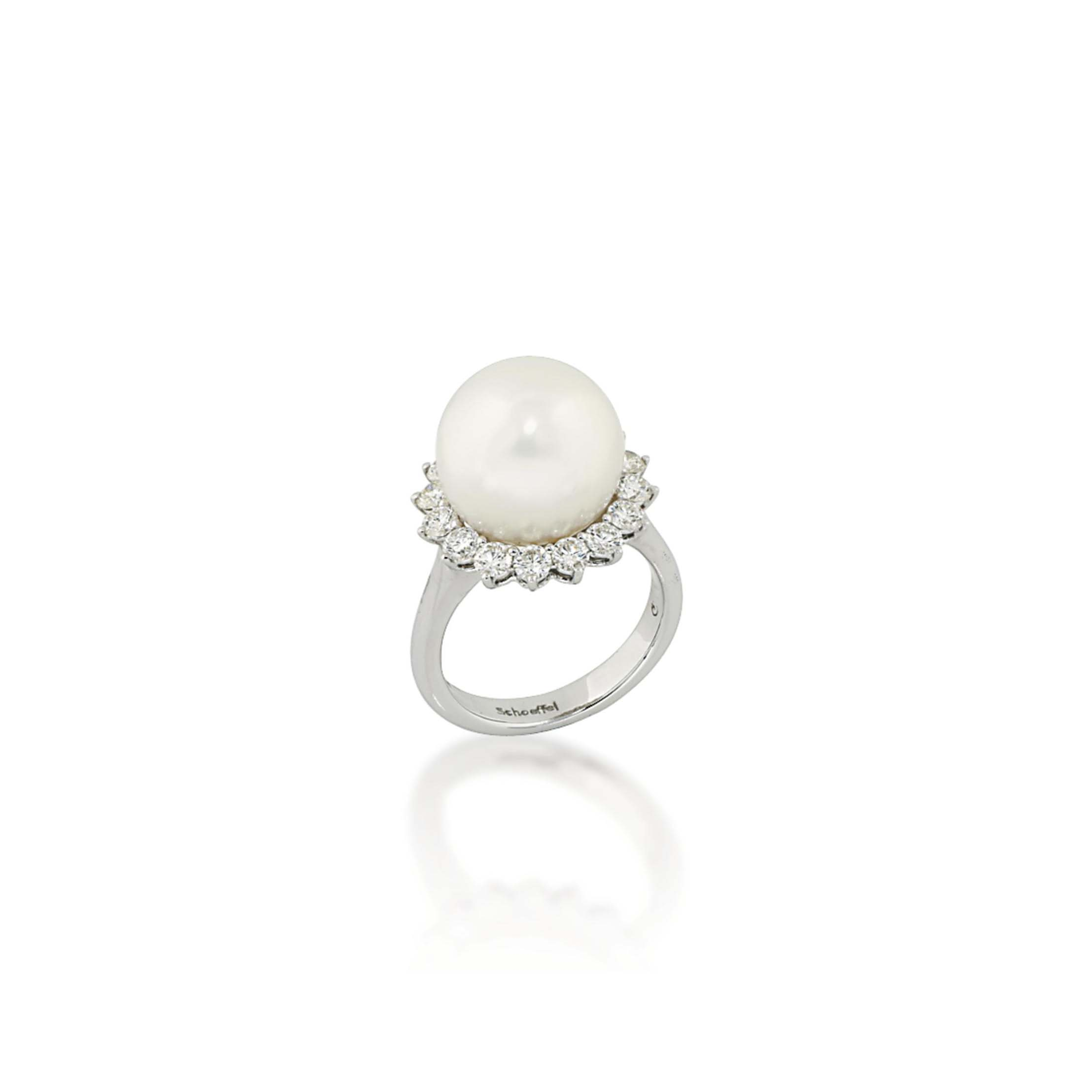 A CULTURED PEARL AND DIAMOND RING, BY SCHOEFFEL