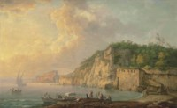 The Bay of Baiae, with elegant figures resting on the shore, with Castello Aragonese in the distance