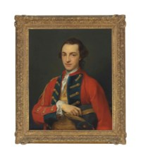 Portrait of George Craster (1734-1772), half-length, in the gold-frogged, red and blue uniform of the Horse Grenadier Guards, holding a tricorn