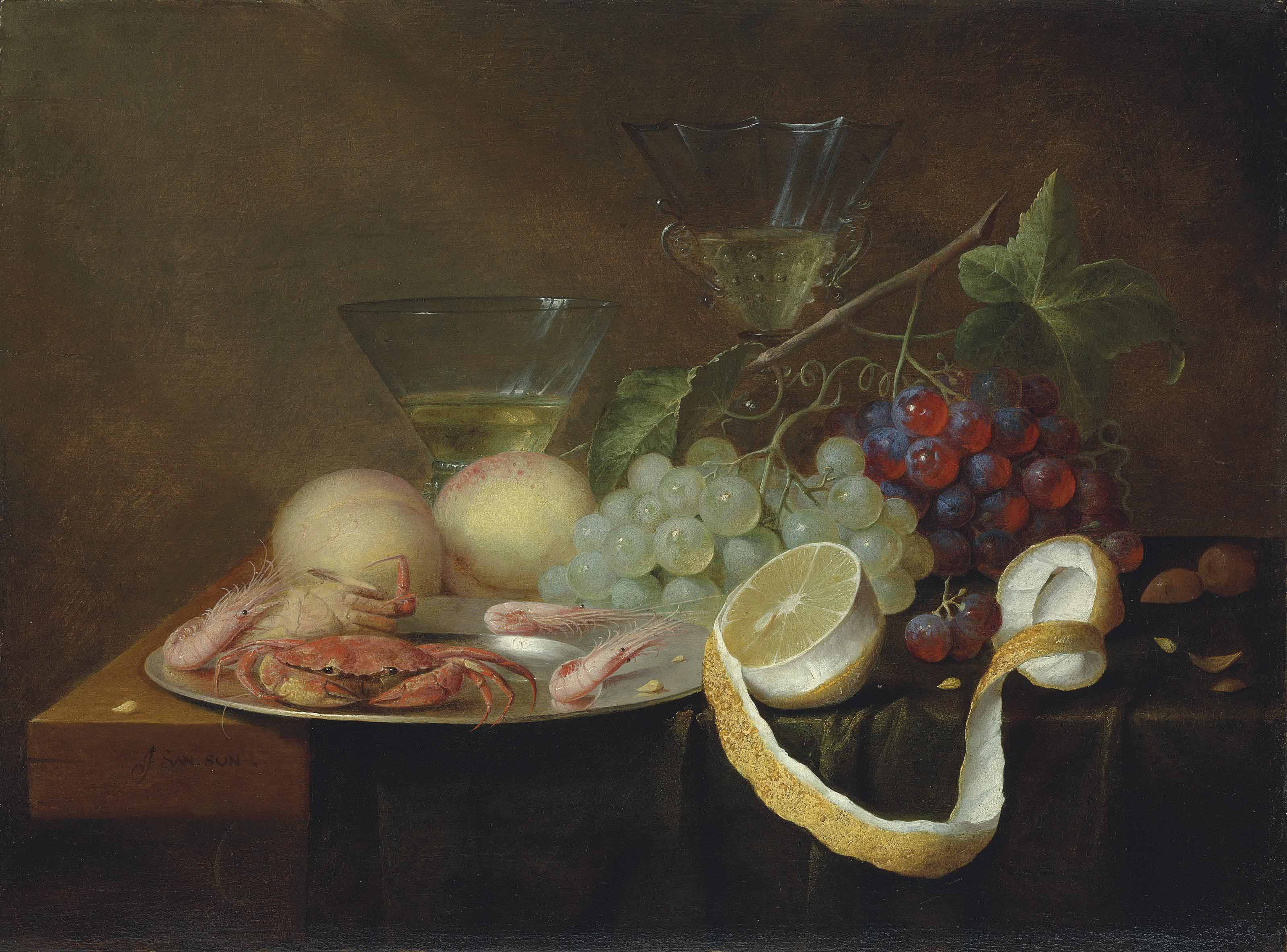 Crabs and shrimp on a pewter platter, with grapes, a partly-peeled orange, peaches and two wine glasses, on a partially draped table