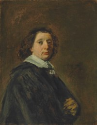 Portrait of a man, half-length, in a black cape with a white collar