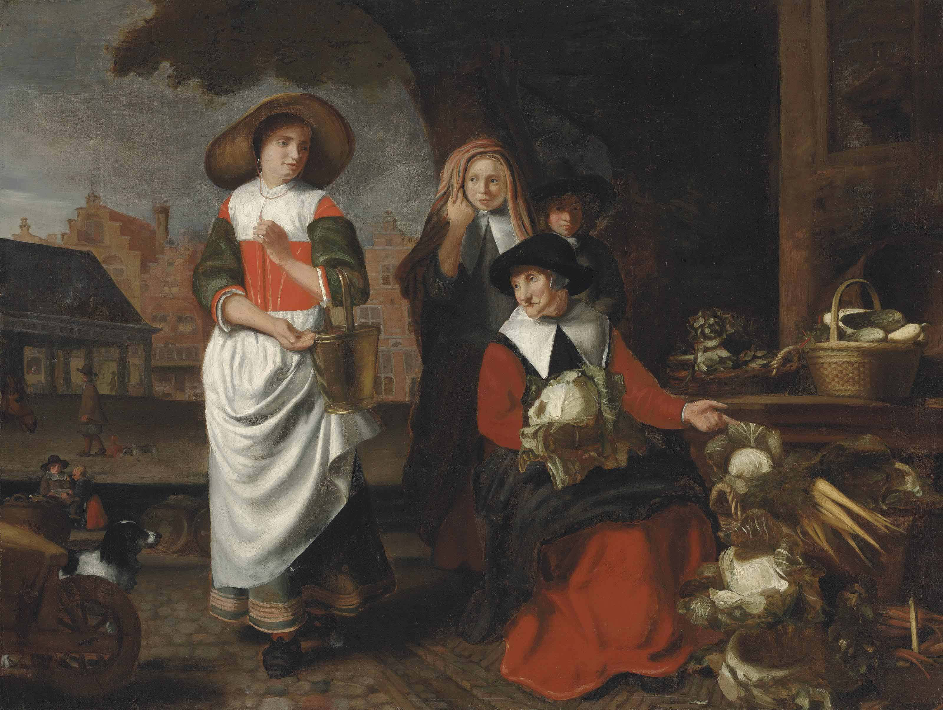 An old women at a vegetable stall, a girl with a milk pail and two children, a town square beyond