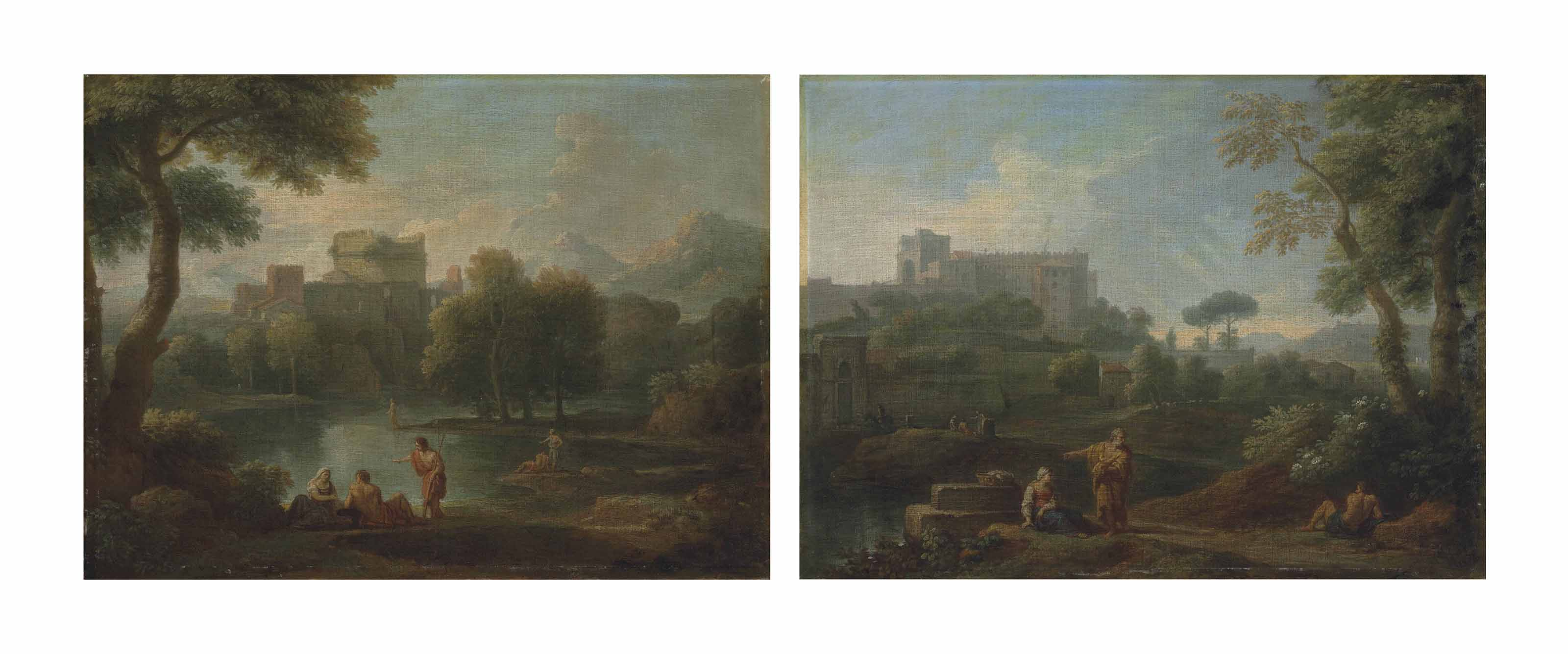 A classical landscape with the Tomb of Cecilia Metella, figures conversing on the bank of a river, mountains beyond; and A classical landscape with a capriccio of the Vatican Belvedere, figures conversing in the foreground