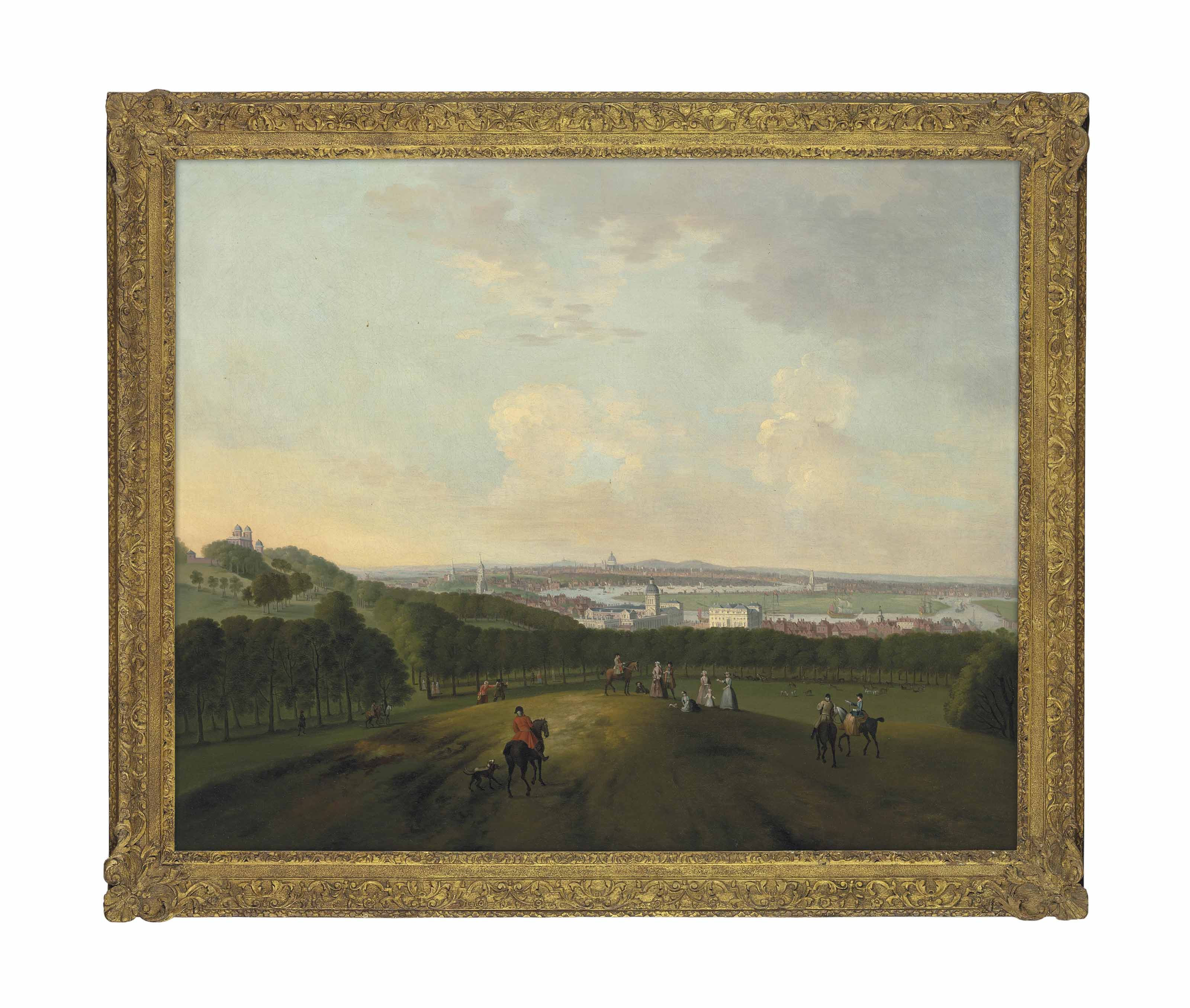 A view of Greenwich, with riders and other figures in the foreground, the Observatory to the left on One Tree Hill, the Thames and London in the distance