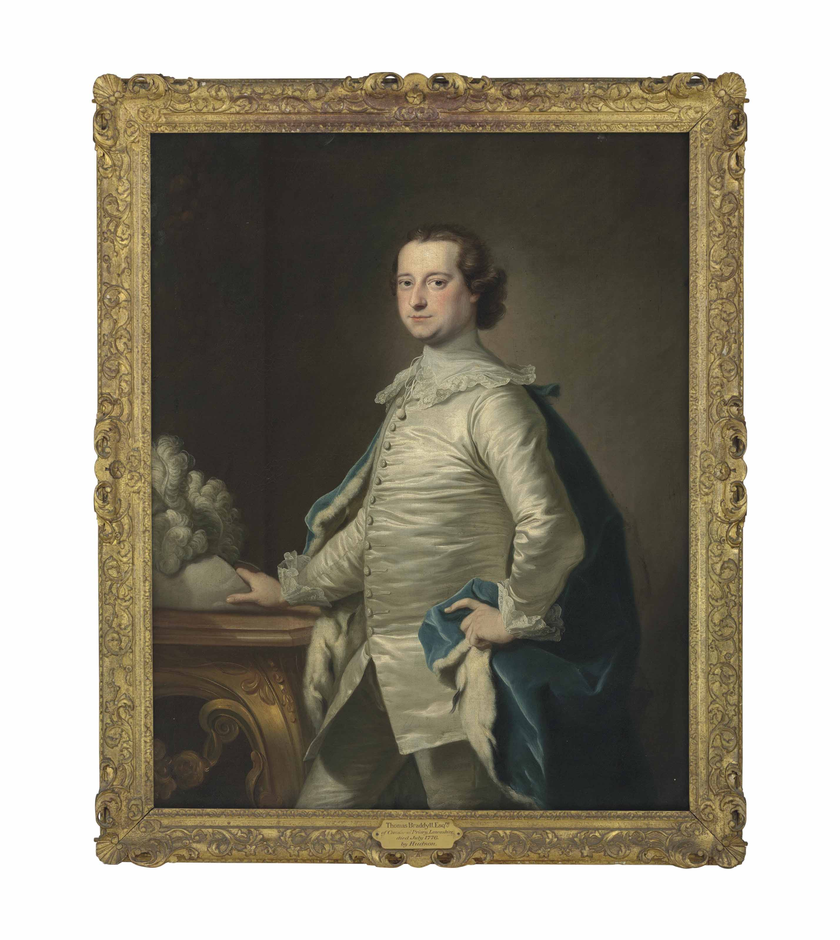 Portrait of Thomas Braddyll (d. 1776), three-quarter-length, in Van Dyck costume, his right hand resting on a plumed hat on a table
