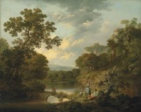A wooded river landscape with an angler on a bridge and figures resting on the bank, ruins on the hills beyond