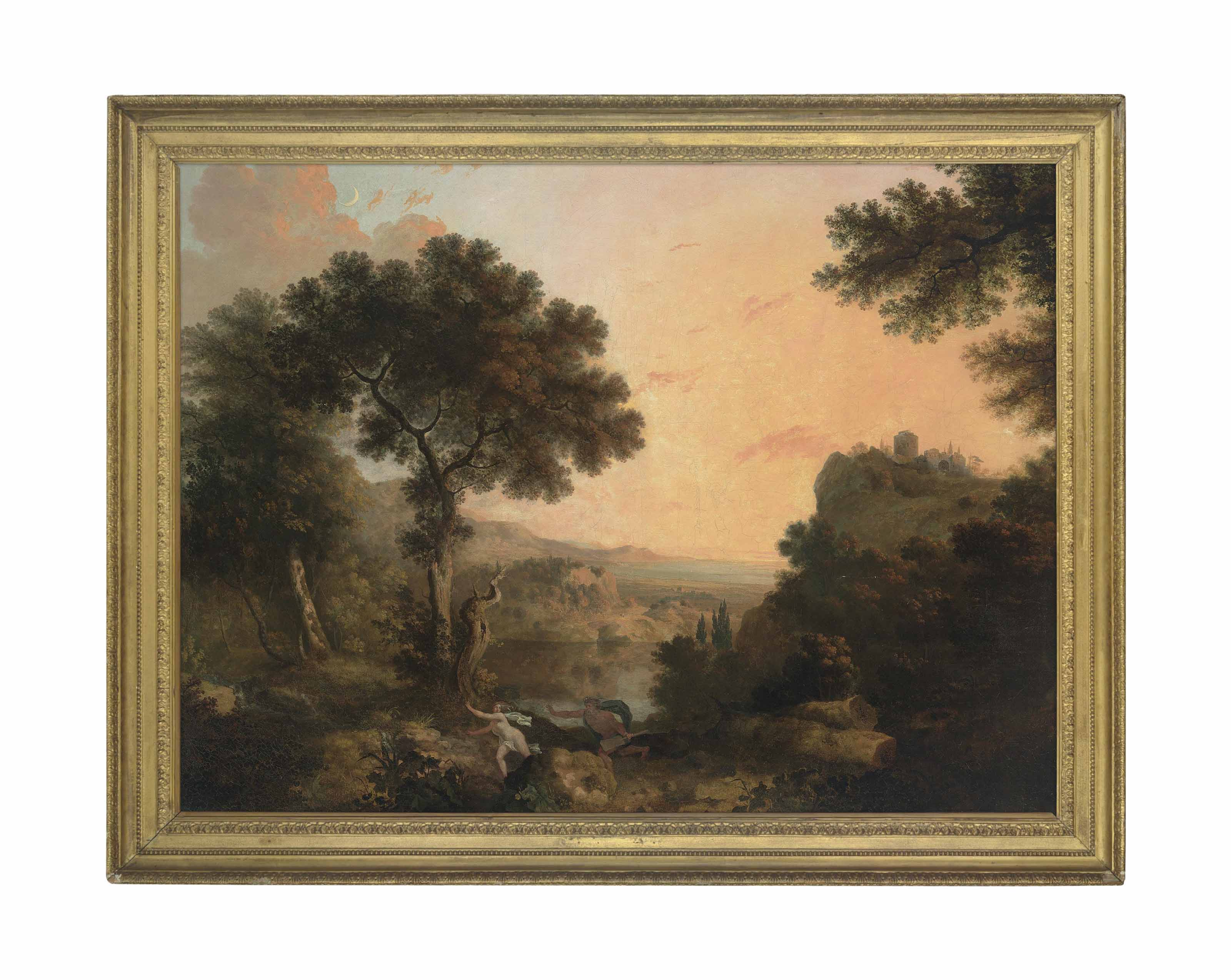 A wooded river landscape at dusk with Alpheus and Arethusa in the foreground
