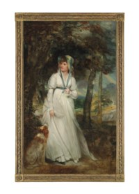 Portrait of Miss Hadfield, full-length, in a white dress with a blue ribbon and hat, with a spaniel in a park landscape