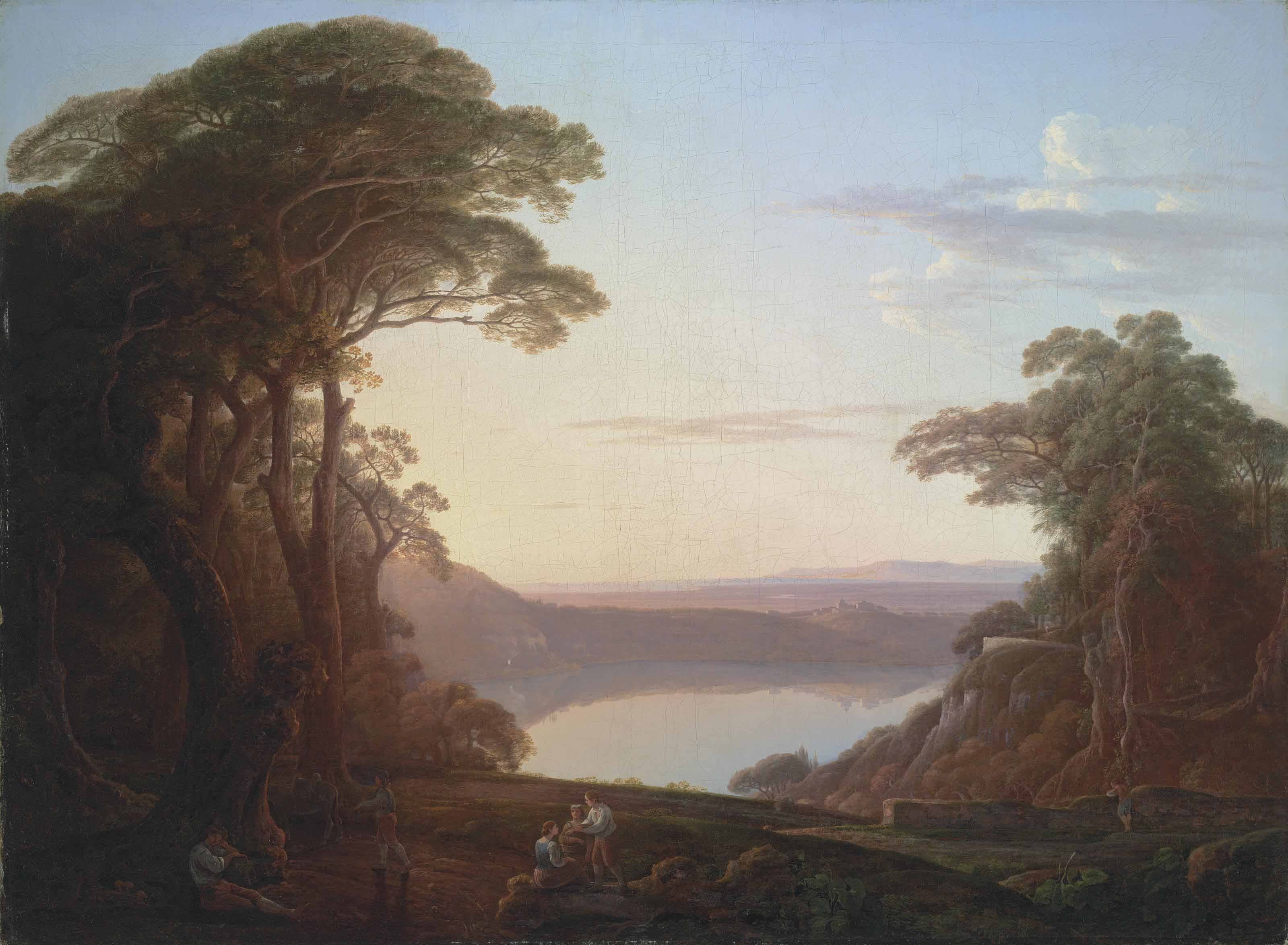 A view of Lake Albano, near Rome, with figures resting in the foreground, Castel Gandolfo beyond