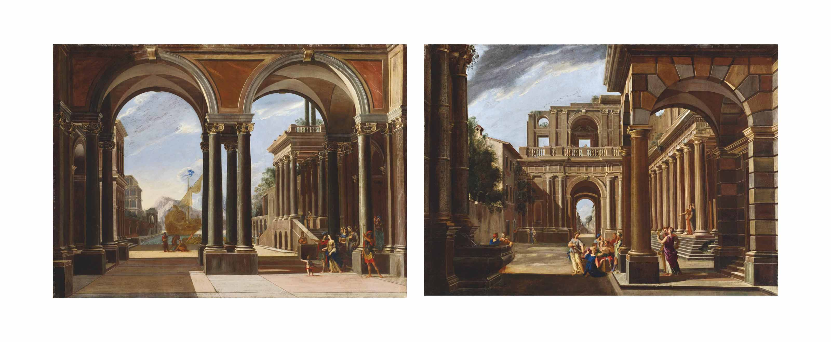 An architectural capriccio with Helena leaving for Troy; and An architectural capriccio with Achilles amongst the daughters of King Lycomedes