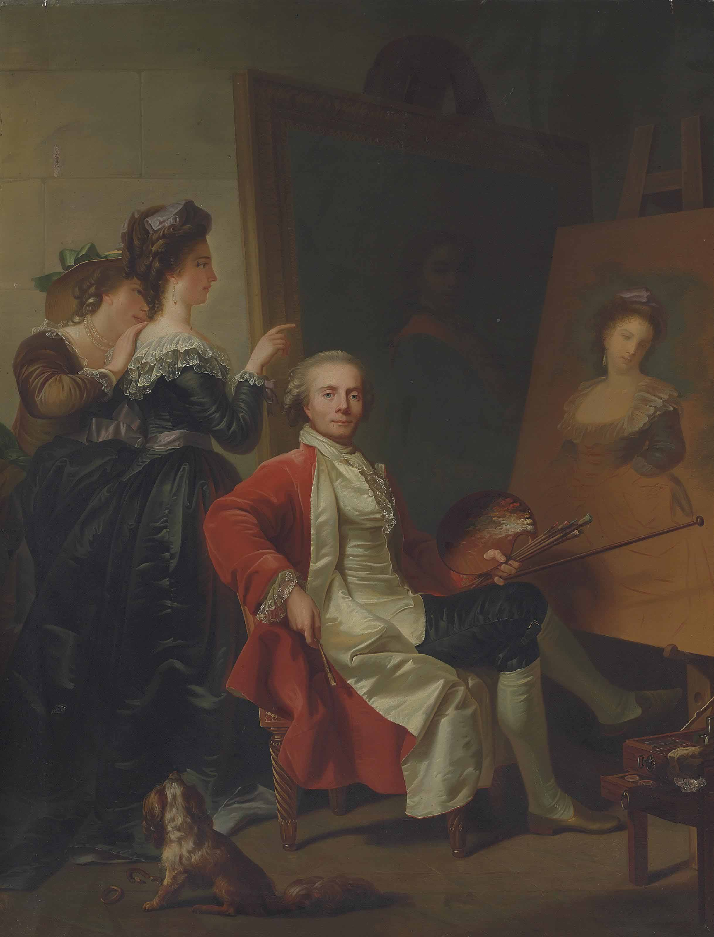 Portrait of Jean-Laurent Mosnier (1743/4-1808), full-length, seated, with his daughters, in his studio, a portrait said to be of Tsar Peter the Great in uniform beyond
