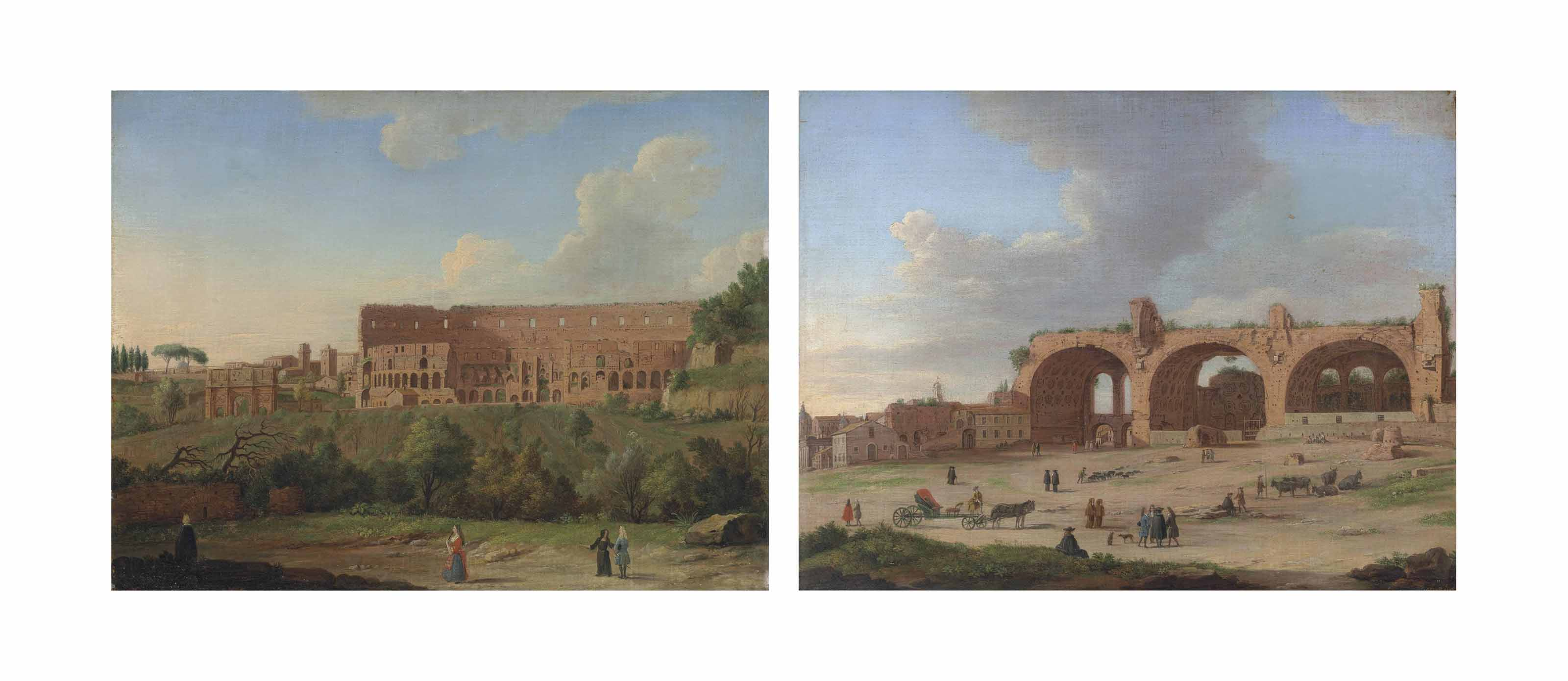 The Colosseum, Rome, with the Arch of Constantine and figures in the foreground; and The ruins of the Basilica of Maxentius, Rome, with elegant figures in the foreground