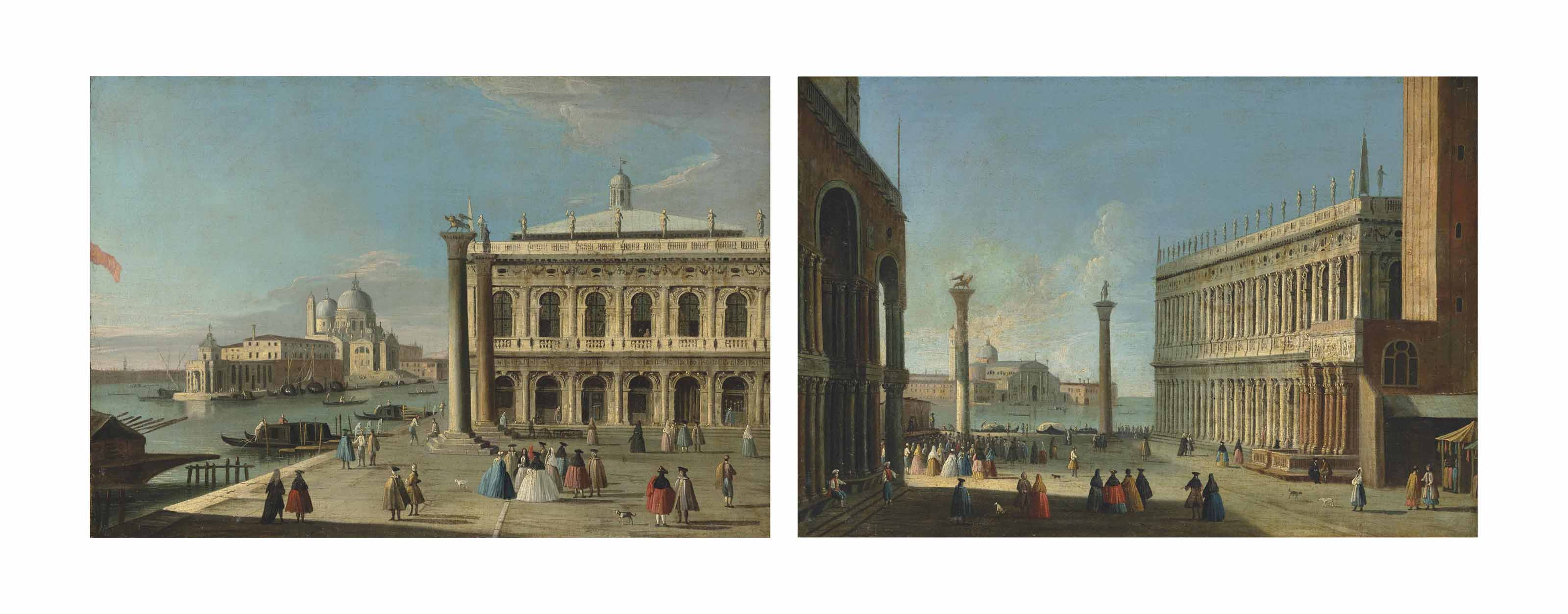 The Piazzetta, Venice, with the Libreria, the entrance to the Grand Canal with the Dogana and Santa Maria della Salute; and The Piazzetta, Venice, with the Libreria, elegant company conversing by the columns of San Marco and San Teodoro, looking south towards San Giorgio Maggiore