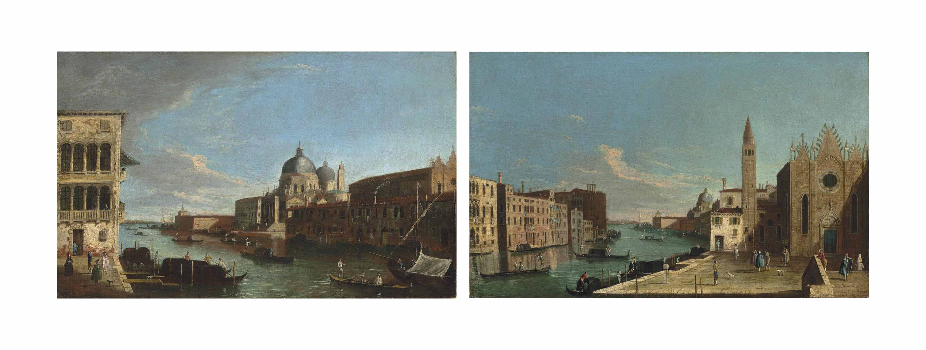 The Grand Canal, Venice, looking towards Santa Maria della Salute with the Punta della Dogana; and The Grand Canal, Venice, looking east with the Scuola della Carità