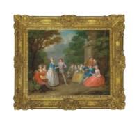 Elegant figures resting in a park landscape