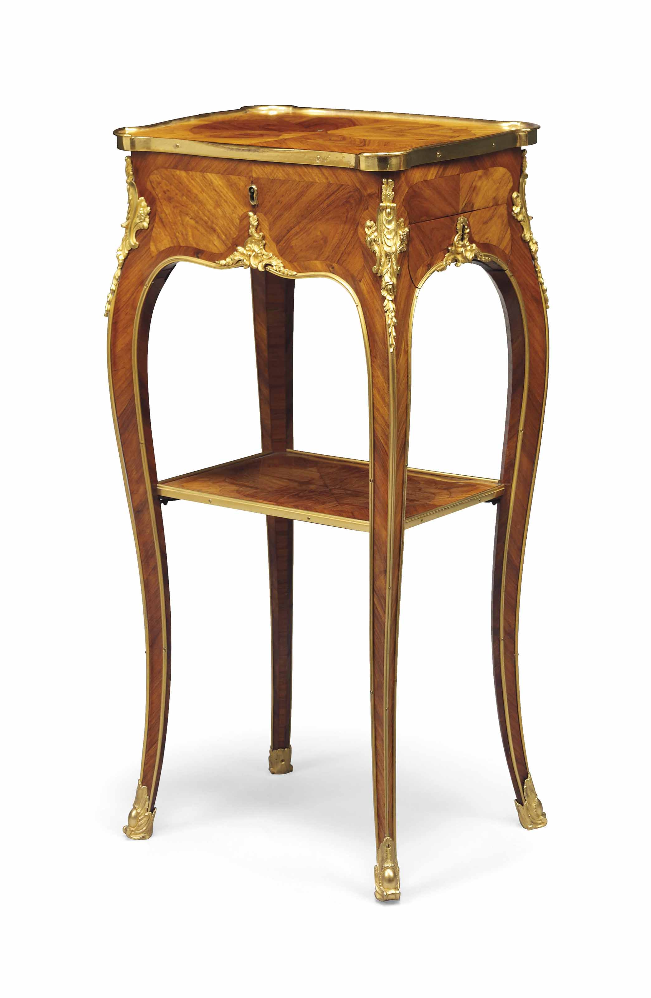 A LOUIS XV ORMOLU-MOUNTED TULIPWOOD, BOIS SATINE AND PARQUETRY TABLE A ECRIRE