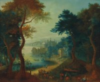 A river landscape with travellers, a wagon and horsemen on a path, a town with a castle beyond
