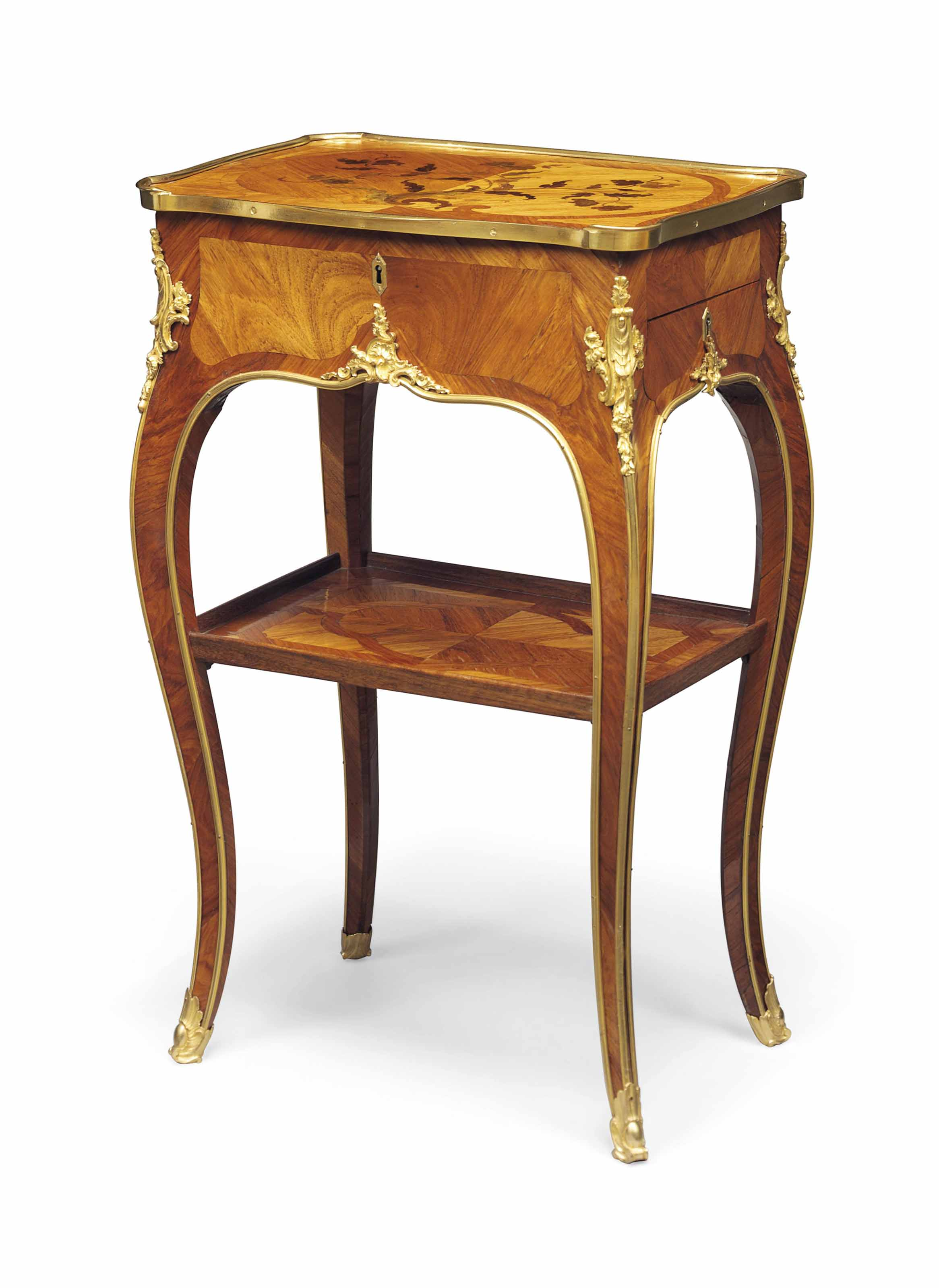 A LOUIS XV ORMOLU-MOUNTED TULIPWOOD, BOIS SATINE AND BOIS-DE-BOUT MARQUETRY TABLE EN CHIFFONNIERE
