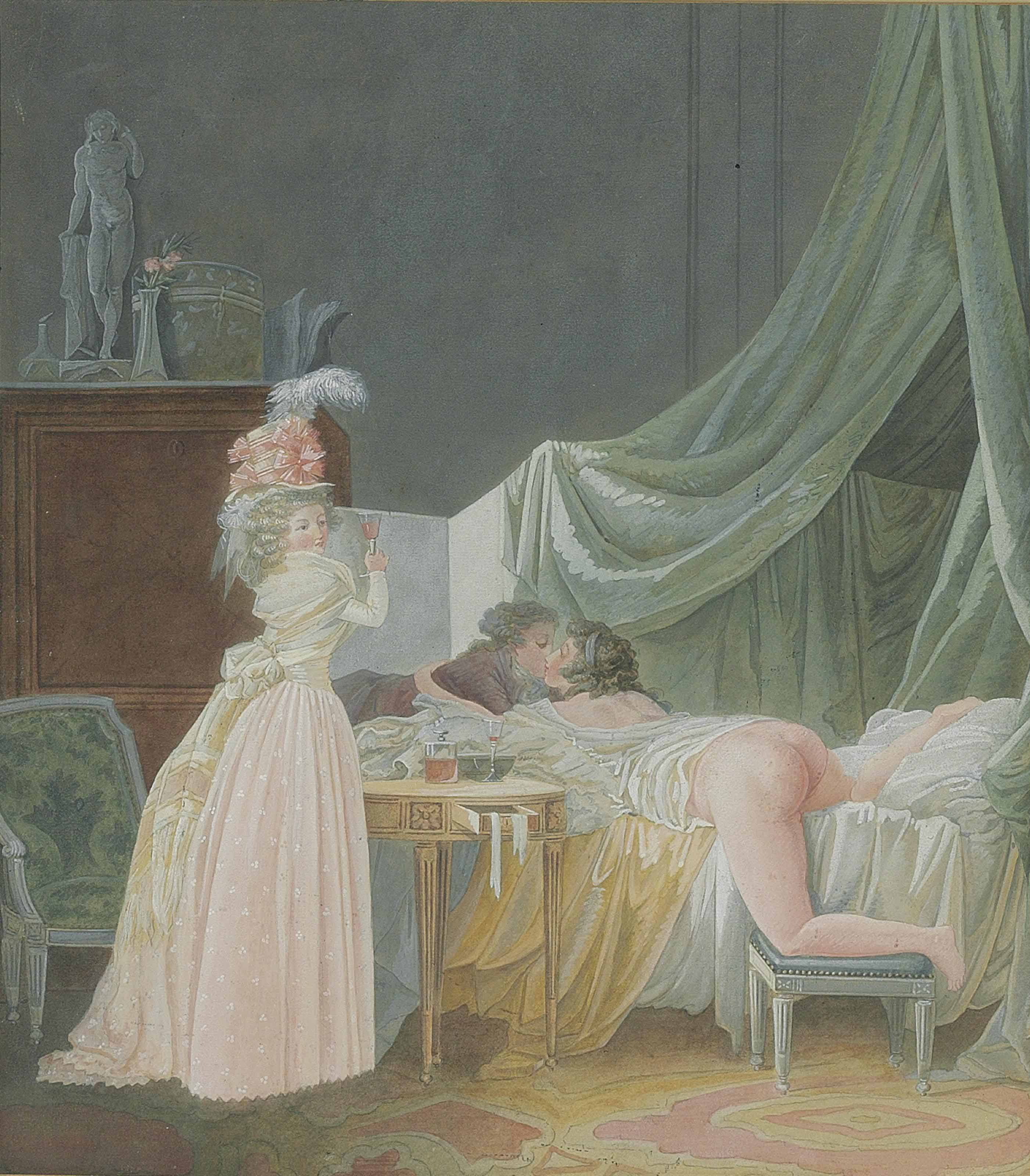 Lovers in a bedroom with a woman drinking a glass of wine