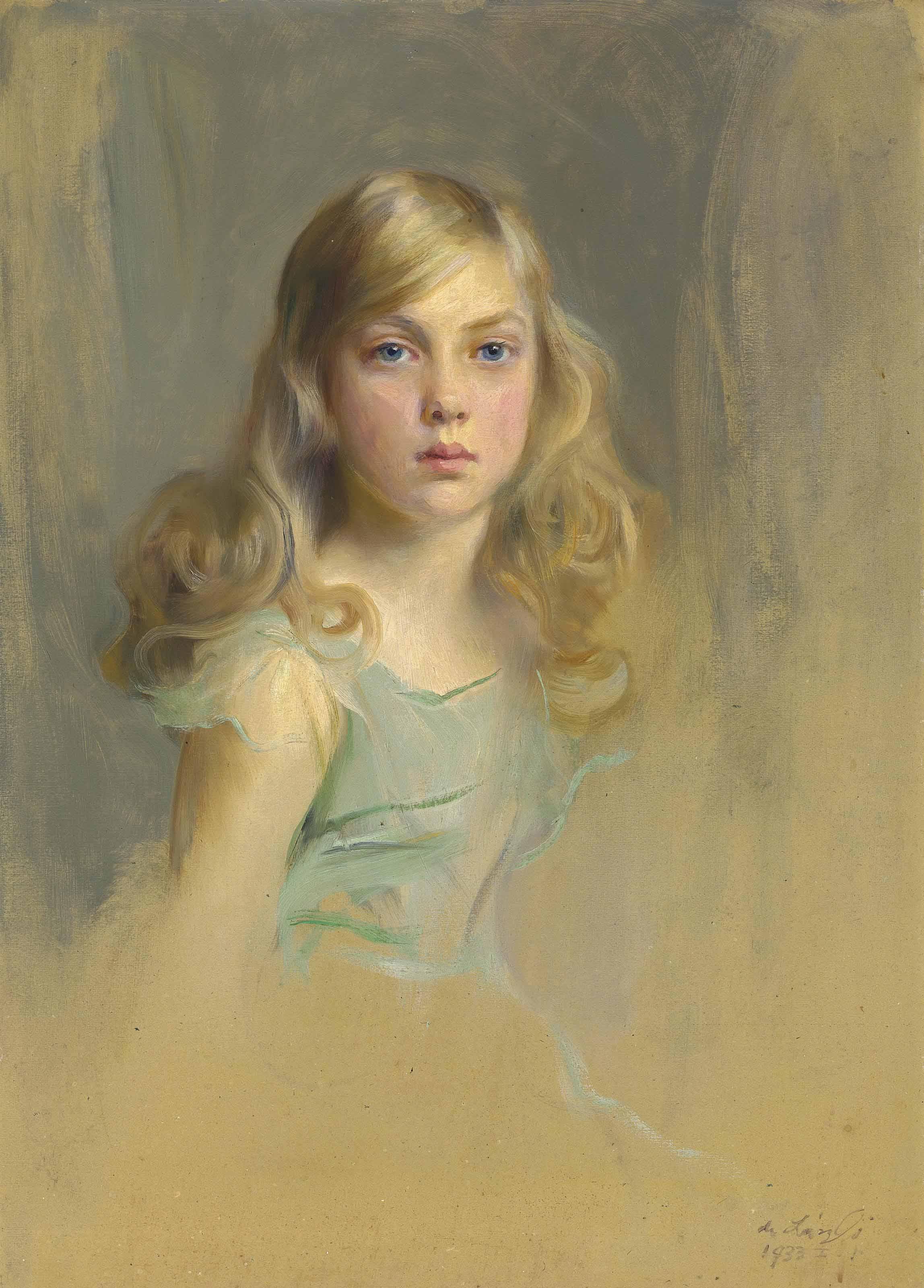 Portrait of the Hon. Esmée Mary Gabrielle Harmsworth, later Countess Cromer, aged nine, half-length