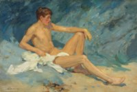 A male nude reclining on rocks