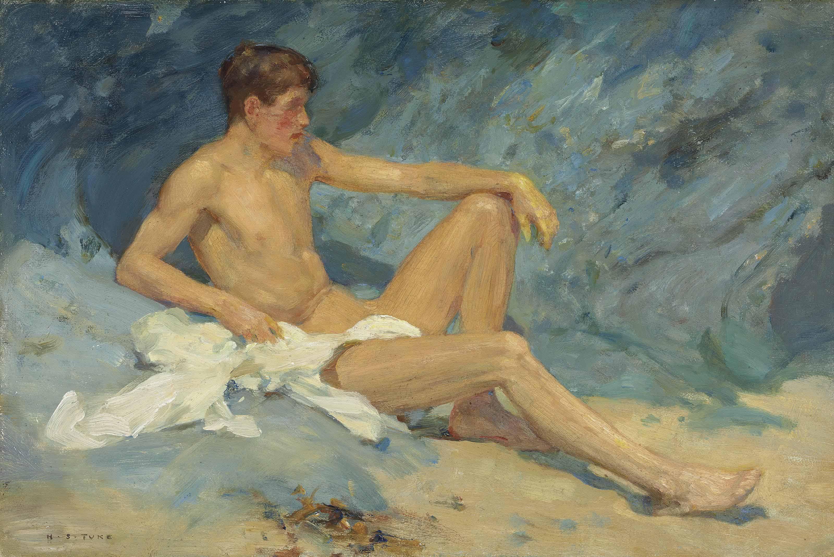 A male nude reclining on rocks