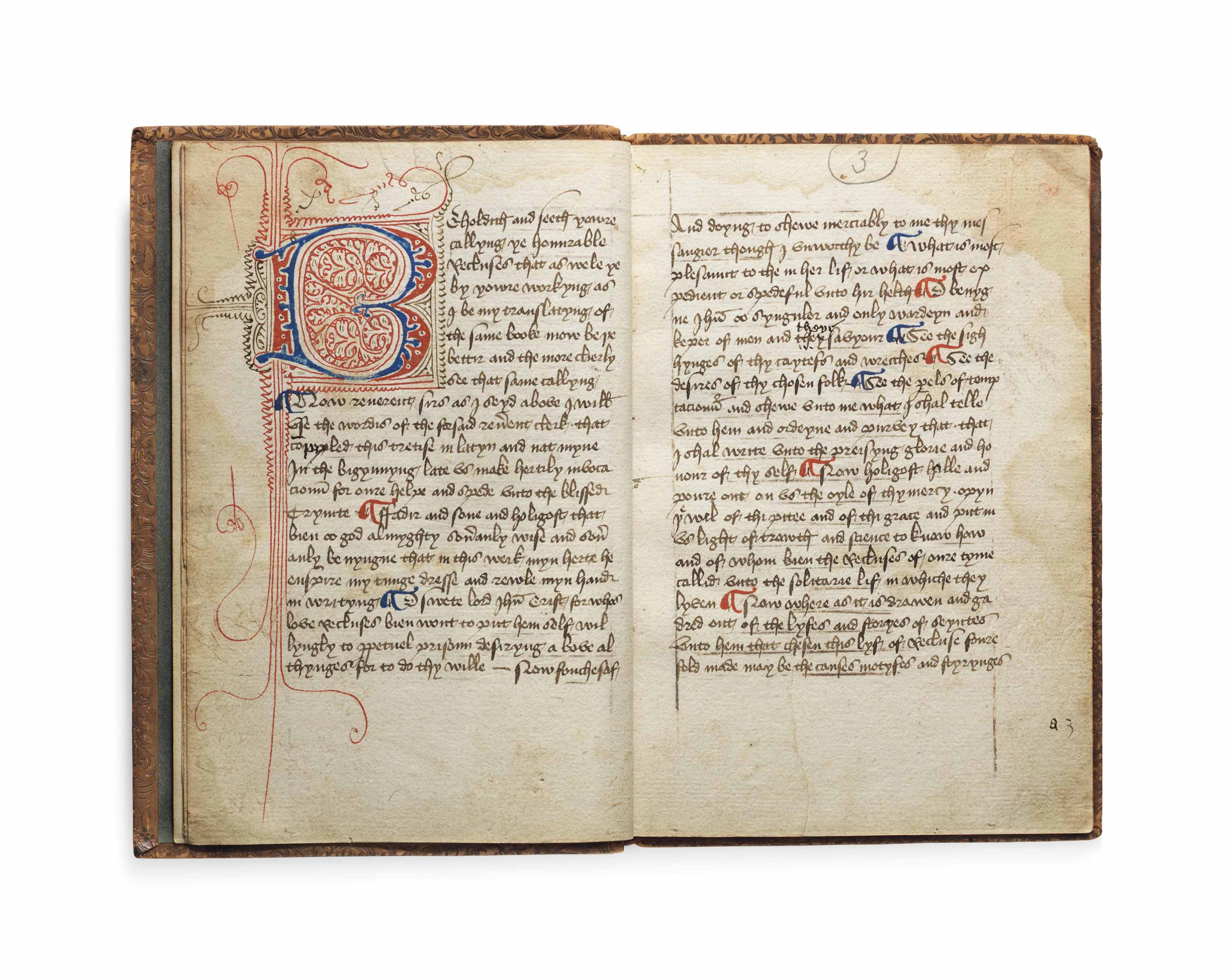 Anonymous (fl. 1414), The Mirror of Recluses, in Middle English with a little Latin, DECORATED MANUSCRIPT ON PAPER [England, perhaps London, c.1414-22]