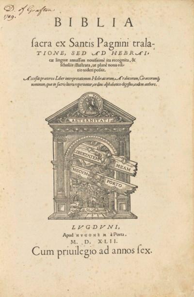 BIBLE, Latin. Biblia sacra ex