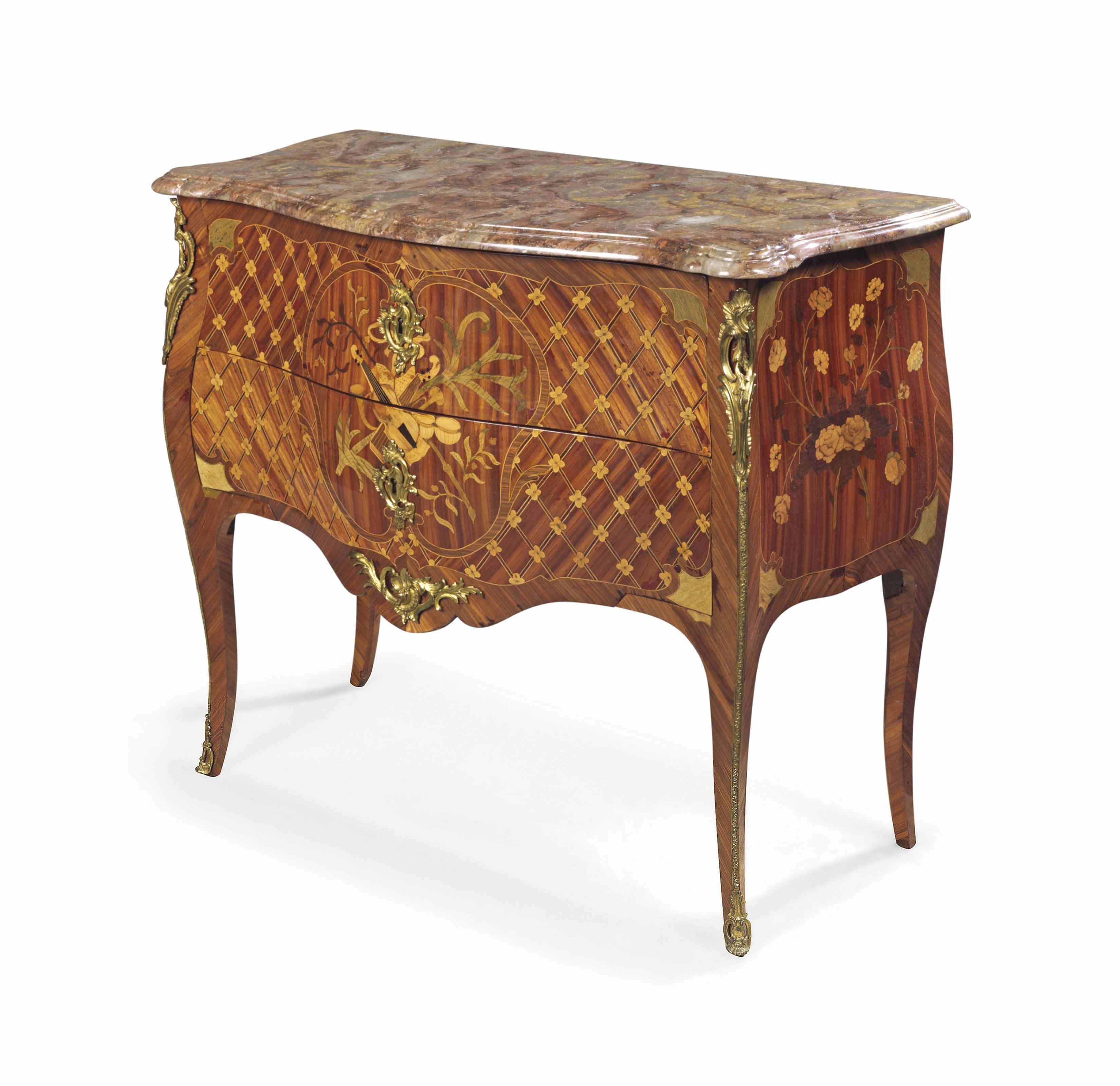 A LOUIS XV ORMOLU-MOUNTED KINGWOOD , BOIS SATINE AND FRUITWOOD MARQUETRY BOMBE COMMODE