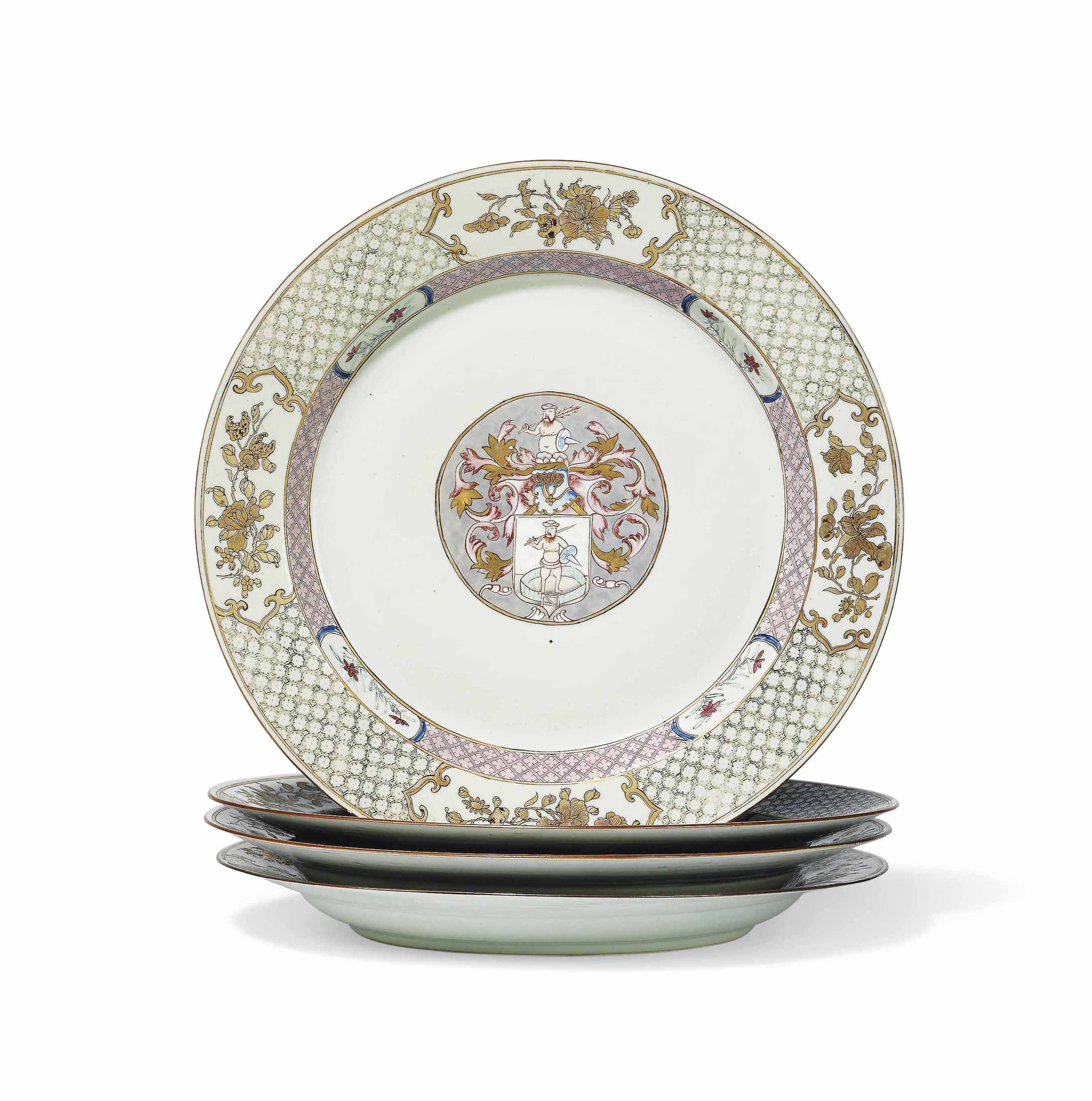 FOUR LARGE CHINESE FAMILLE ROSE ARMORIAL DISHES FOR THE DUTCH MARKET