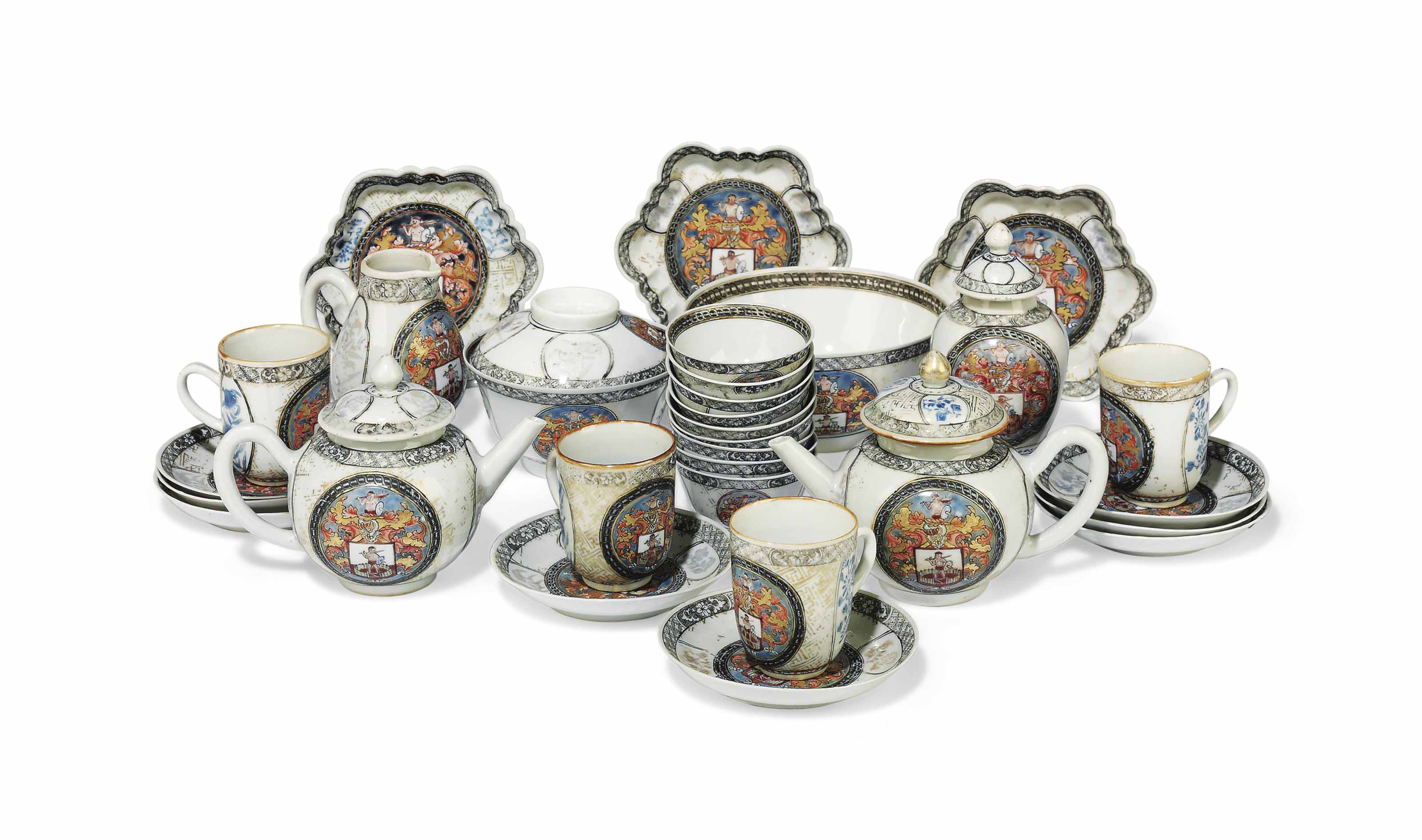 A CHINESE FAMILLE ROSE ARMORIAL PART TEA AND COFFEE SERVICE FOR THE DUTCH MARKET