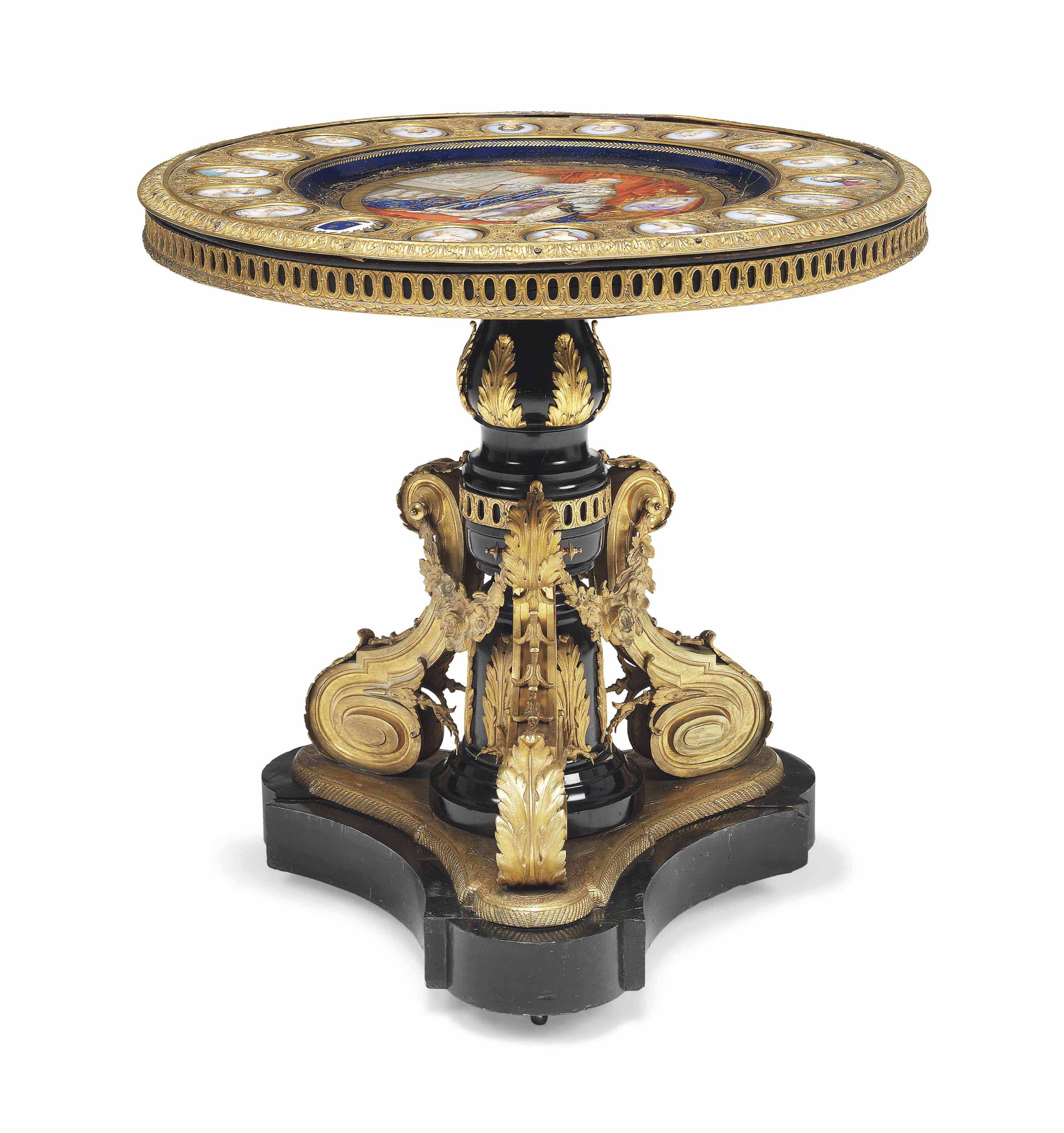 A NAPOLEON III ORMOLU-MOUNTED AND COBALT-BLUE GROUND SEVRES-STYLE PORCELAIN EBONISED CENTRE TABLE