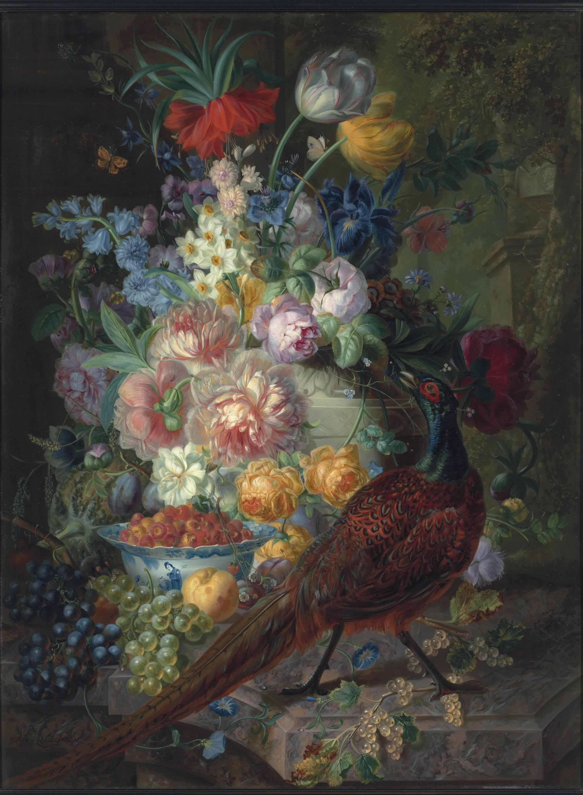 An arrangement of tulips, roses, irises, narcissus, grapes, white currants, a peach and a strawberry, with a pheasant and a mouse by a Chinese bowl, all on a marble ledge