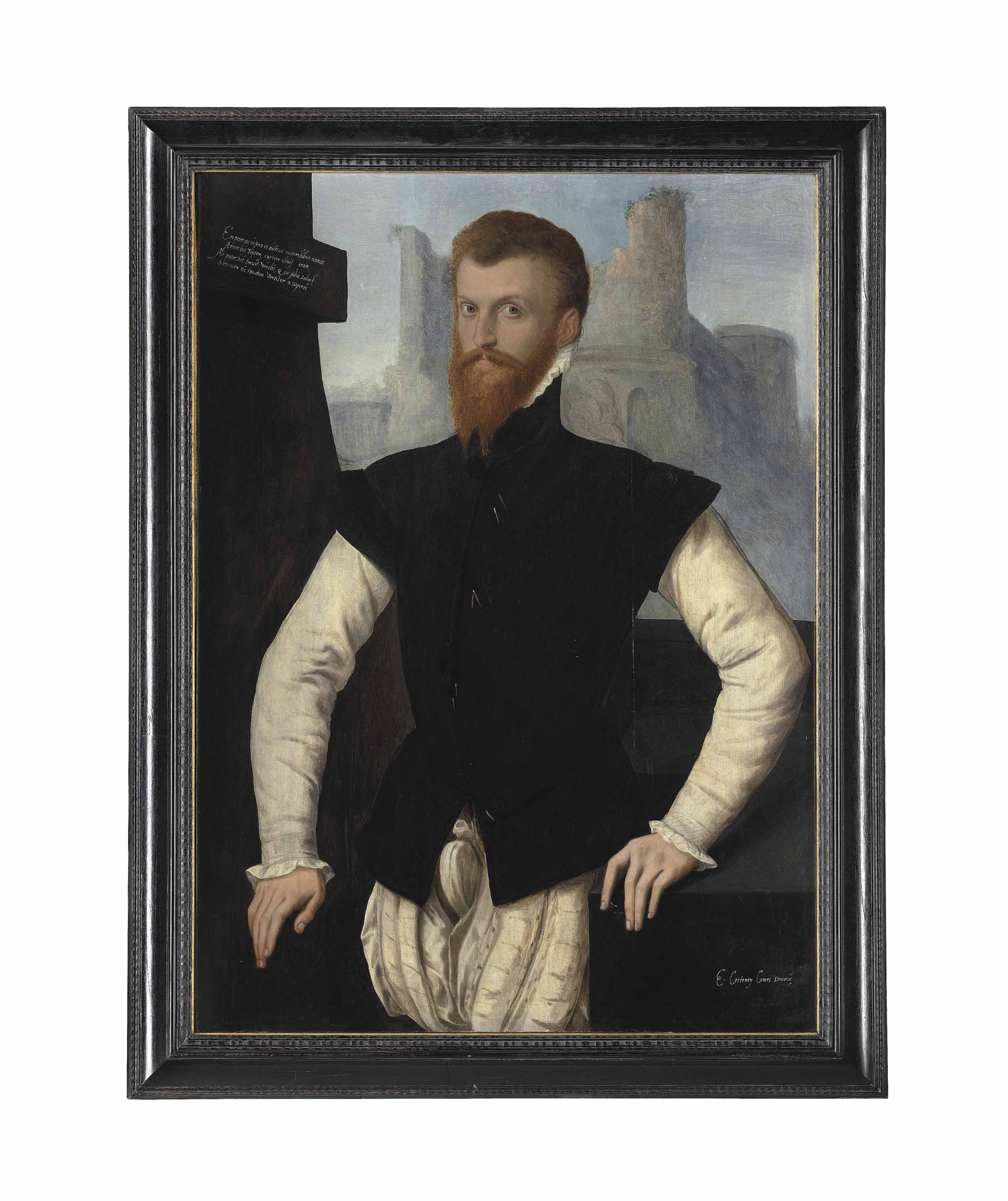 Portrait of Edward Courtenay, 1st Earl of Devon (1523-1556), half-length, in a black jerkin tied by points and a ruff, leaning on a stone ledge, ruins beyond