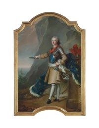 Portrait of Louis-Jean-Marie de Bourbon, duc de Penthièvre (1725-1793), full-length, in a breastplate with the sash of the Order of Saint Esprit and the badge of the Order of the Golden Fleece, holding a marshal's baton with the fleur-de-lys, standing by his velvet fur-lined mantle and plumed helmet, in a rocky coastal landscape