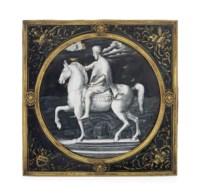 A GILT-COPPER-MOUNTED PARCEL-GILT POLYCHROME ENAMEL ROUNDEL DEPICTING MARCUS AURELIUS ON HORSEBACK