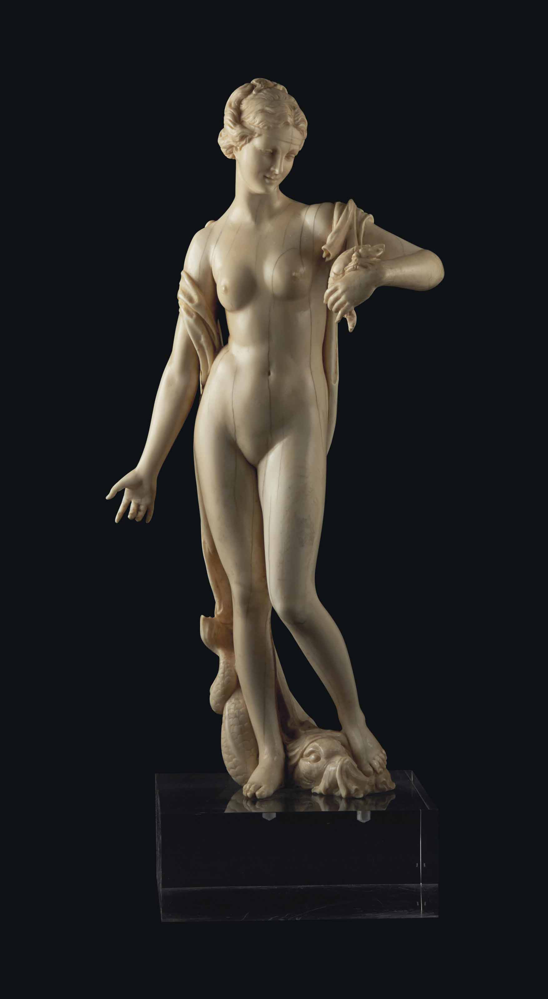 AN IVORY FIGURE OF AMPHITRITE