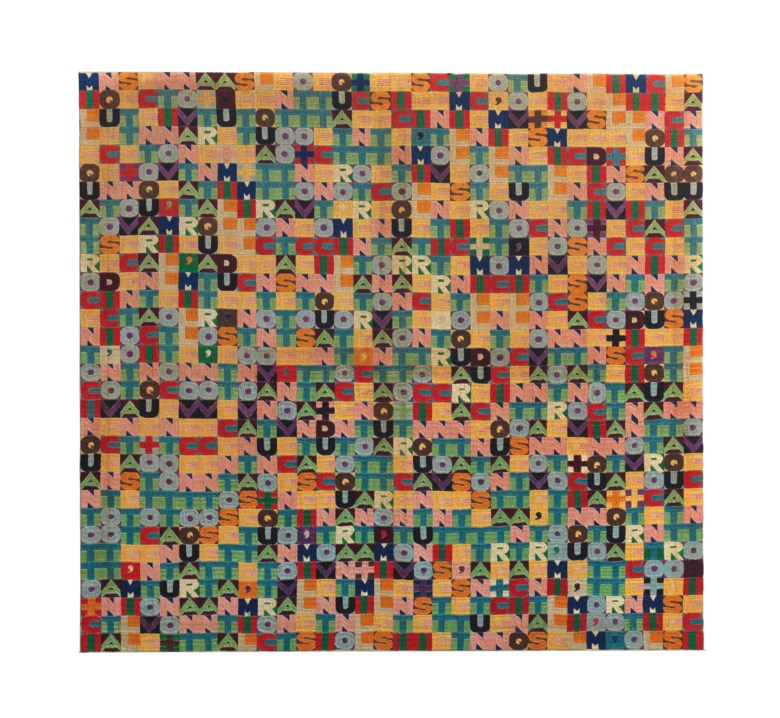Alighiero Boetti (1940-1994), Addizione (Addition). Embroidery. 54¾ x 58¾ in (138 x 149 cm). Sold for £1,706,500 on 11 February 2014 at Christie's in London © DACS 2018