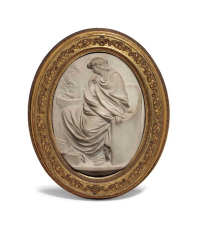 A LOUIS XVI OVAL MARBLE BAS-RE