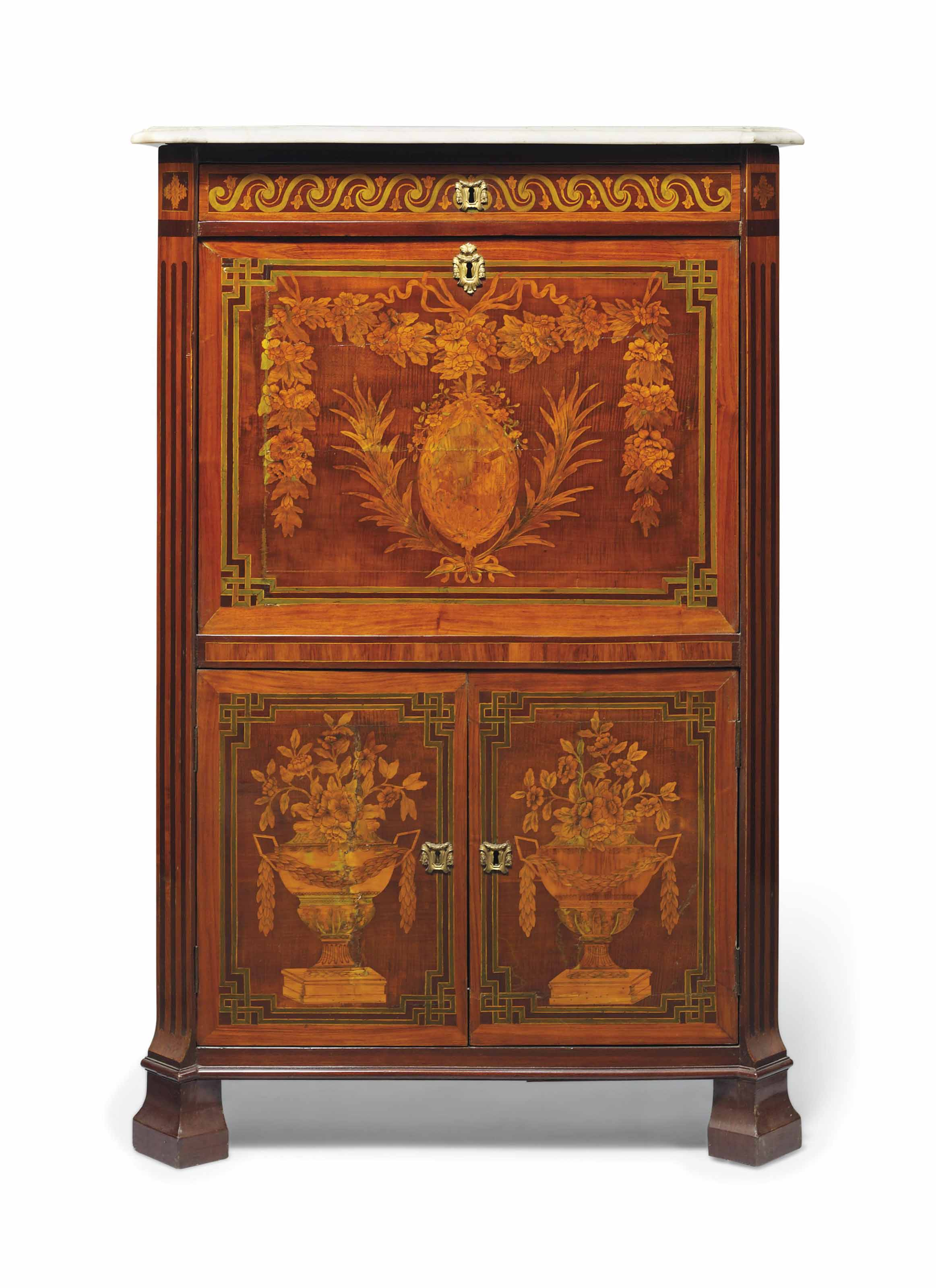 A LOUIS XVI ORMOLU-MOUNTED TULIPWOOD AND MARQUETRY SECRETAIRE A ABBATANT