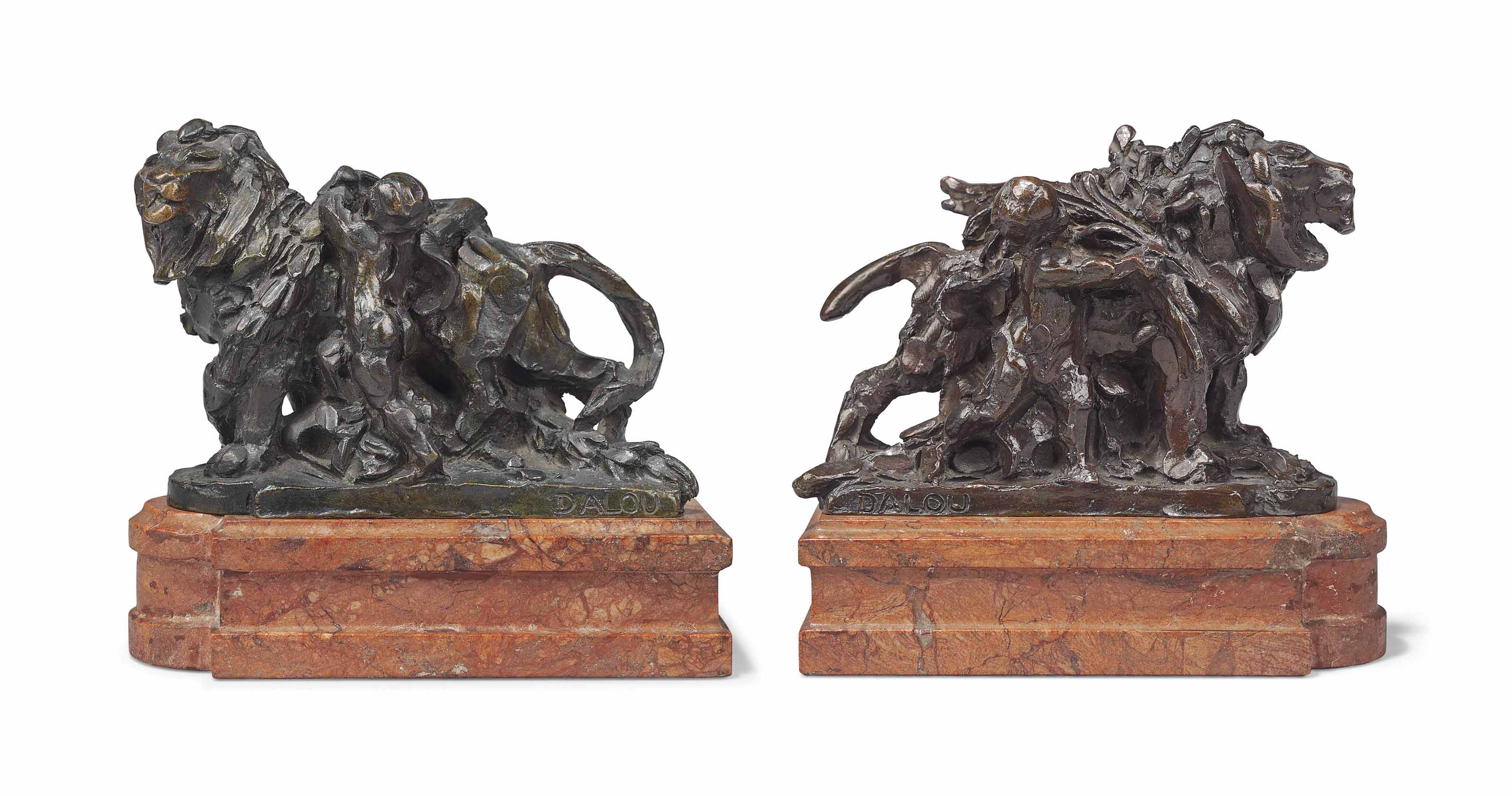 A PAIR OF FRENCH PATINATED-BRONZE GROUPS OF LIONS ENTITLED 'LIONS DU PONT ALEXANDRE III'