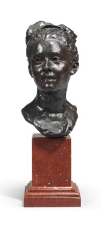 A FRENCH PATINATED-BRONZE BUST OF MADEMOISELLE VUILLIER, ALSO CALLED 'LA CANDEUR'