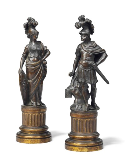 A PAIR OF FRENCH PATINATED-BRO