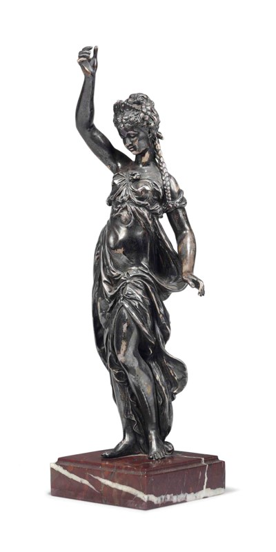 A FRENCH SILVERED-BRONZE FIGUR