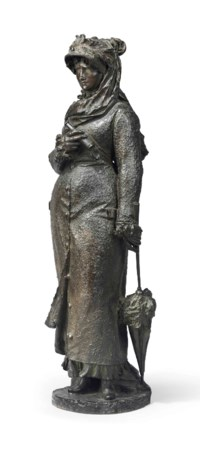 AN ITALIAN PATINATED-BRONZE FIGURE OF A LADY