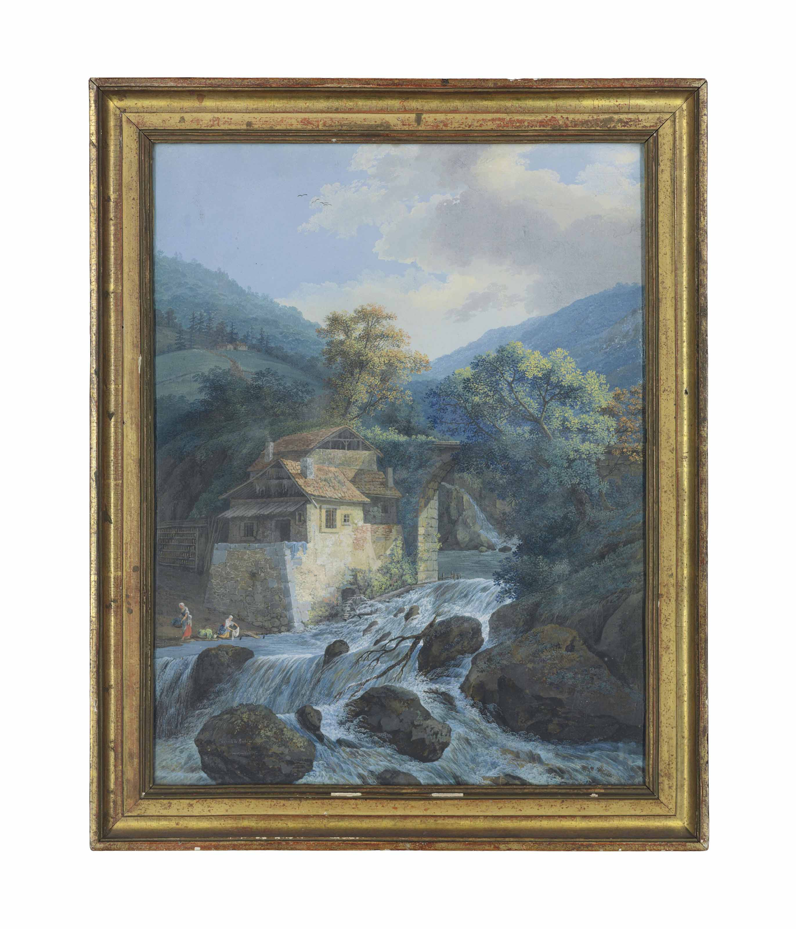A waterfall with a mill and a bridge