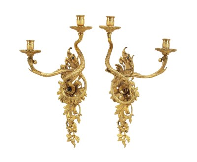 A PAIR OF FRENCH ORMOLU TWIN-B